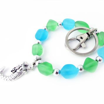 Sea Glass and Mermaid Keychain Wristlet