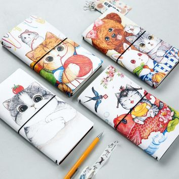 1Pcs/set Kawaii Cartoon cat PU notebook diary book notepad kawaii stationery school supplies gift for kids