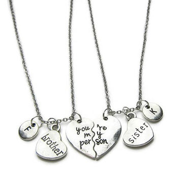2 Brother And Sister Necklaces, You're My Person Necklaces, Brother Sister Necklaces, Sister Brother Necklaces ,Personalized