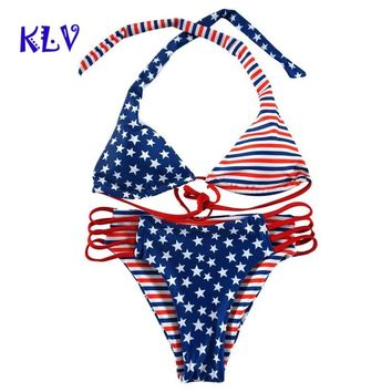 klv Women American Print Flag Bikini Swimsuit Bikini Beachwear Swimwear Bathingsuit independence Day maillot de bain femme   #4