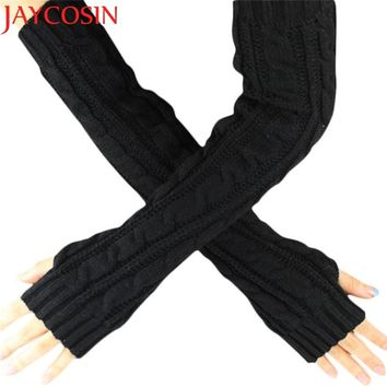 Hot Maketing 6 colors Women Knitted Long Gloves Arm Warmers Female Gloves