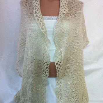 Cream color, gold sim Shawl, Scarf, fall,winter,spring