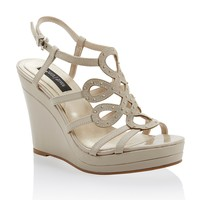 White House | Black Market Neutral Embellished Wedge