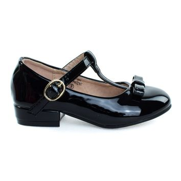 Kate5K Black By Bella Marie, Girl's Mary Jane T-Strap Pump, Chunky Block Heel & Bow, Children Kid Shoe