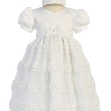 Rows of Chiffon Flowers on Tulle Overlay Satin Christening Gown (Baby Girls Newborn - 18 months)