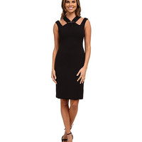 Anne Klein Embellished Double Weave Crepe with Cut Away Neck Black - 6pm.com