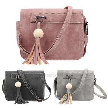 Vintage Women Tassel Leather Crossbody Handbag Bag Messenger Tote Purse Satchel
