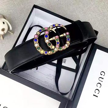 GUCCI Woman Men Fashion Colorful Diamond Smooth Buckle Belt Leather Belt With Box