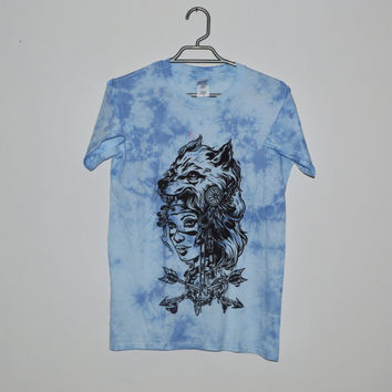 Blue Tie Dye Chizuru Headdress T-shirt - Woman With Wolf Head