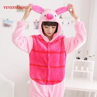 VEVEFHUANG Unisex Adult Flannel Piglet Pig Cosplay Pajamas Animal Onesuits For Women Men Cartoon Pyjamas Animal Sleepwear Pijama