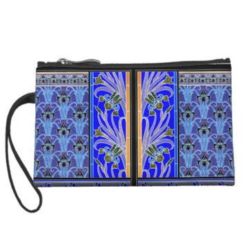 Art nouveau black and purple iris clutch