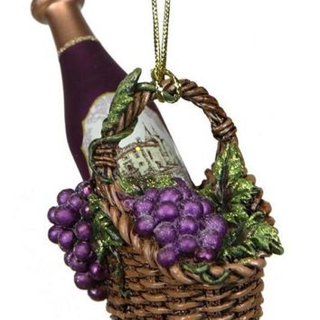"4.5"" Tuscan Winery Purple Glass Wine Bottle in Basket Christmas Ornament"