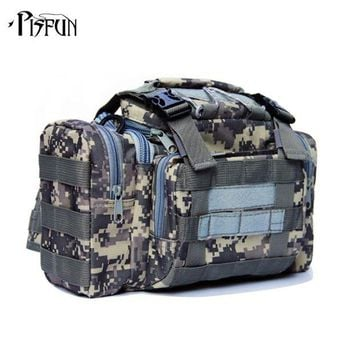 DCCK7N3 Outdoor Lure Fishing bag 900D Oxford fishing tackle bag multifunctional Camouflage waist pack messenger bag fishing tackle