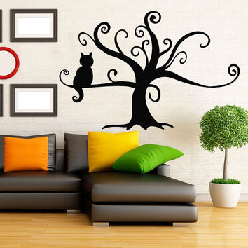 Cat Wall Decal Pet Shop Vinyl Stikers Baby Kitten Decal Tree Art Mural Home Dorm Play Room Design Interior Living Room Animal Decor KY80
