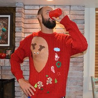 Mens, Ugly Christmas Sweater, Pastie, Rudolf, Sexy, Reindeer, chest