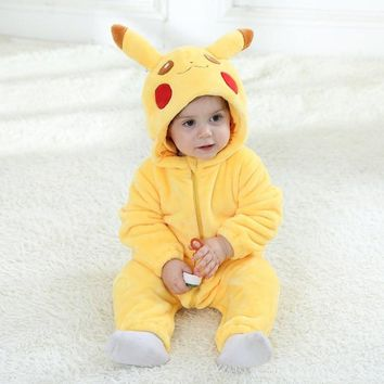 Baby Romper Long Sleeves 100% Flannel Baby Pajamas Cartoon Pikachu Printed Newborn Baby Girls Boys Lovely  ClothesKawaii Pokemon go  AT_89_9