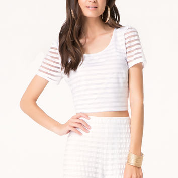bebe Womens Mesh Striped Crop Tee