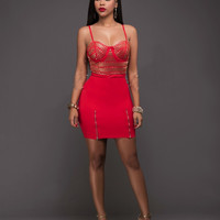 Golden Beaded Red Strap Top and Skirt Sets