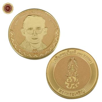 WR 24K Gold Plated Metal Coin Thailand King Bhumibol Adulyadej Gold Coin Rare Gold Plated Collectible Nice Souvenir Collection