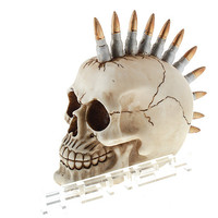 Mohican Hairstyle Resin Skull Desk Decoration