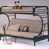 Banner Black Twin over Full Futon Metal Bunkbed