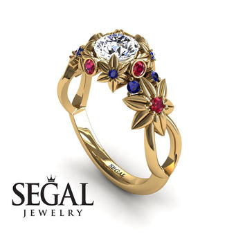 Unique Engagement Ring 14K Yellow Gold Flowers And Branches Art Deco Edwardian Ring White diamond With Ruby - Katherine