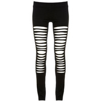 Maurie & Eve Black Ripped See Through Swing Leggings - Polyvore