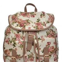 Shabby Chic Floral Print Slouch Backpack in Ivory | Sincerely Sweet Boutique