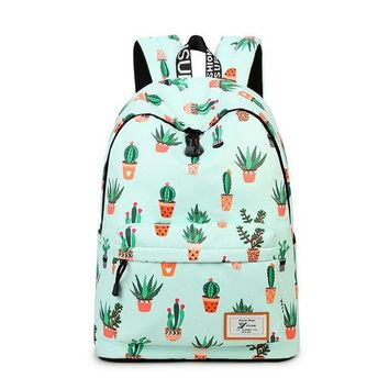 "Girls bookbag Water Resistant Fashion Cactus Printed School Backpack with 15.6"" Laptop Sleeve Cute Bookbag for Girls AT_52_3"