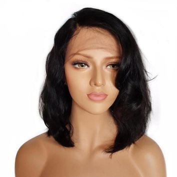 Brazilian Short Human Hair Wig With Pre Plucked Baby Hair
