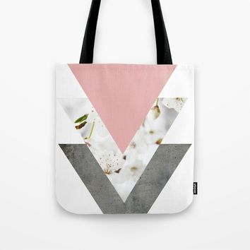 Blossoms Arrows Collage Tote Bag by ARTbyJWP