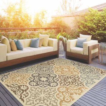 Outdoor/Indoor Ivory/Grey Synthetic Area Rug | Overstock.com Shopping - The Best Deals on 7x9 - 10x14 Rugs