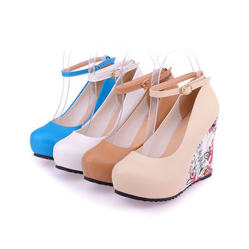 Women's Elegant Closed Toe Wedge Platform Pumps Sexy Ankle Strap Floral Parint High Heel Shoes