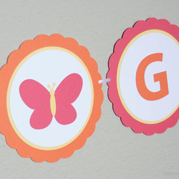 IT'S A GIRL Banner, Butterfly Baby Shower,  Baby Shower Decoration, Baby Shower Banner, Butterfly Banner, Hot Pink Orange Yellow