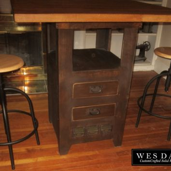 Steam Punk Industrial Pub Table with Butcher Block Top