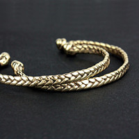 Real Braided Gold Cuff Bracelet Brass Bangle Friendship Bracelet Braid Gold Cuff Bohochic