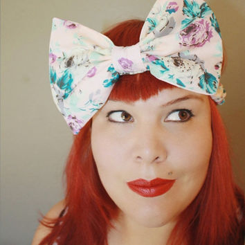 Big Bow, Stretchy Headband, Pink Floral, Spring Pastels