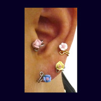 Ear Cuff, Nose cuff, Tragus cuff, Rose ear cuff, Gold/Silver ear cuff,  Non Pierced Nose Ring, Cartilage, Fake piercing