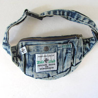 Vintage acid wash denim jean 80s FANNY PACK purse