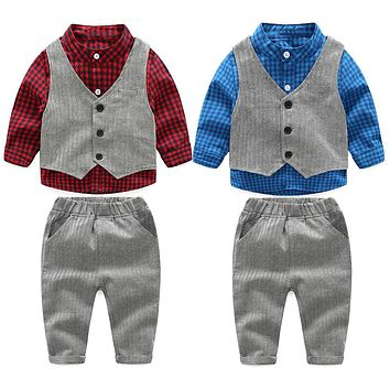 New Spring Autumn Baby Kids Boys Clothing Set Fashion Plaid Shirt+Vest+Pants 3pcs Kids Formal Clothes Outfits Suit