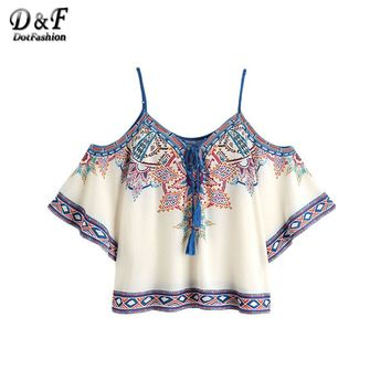 Dotfashion Aztec Print Boho Blouse 2017 Women Vintage Lace Up Cold Shoulder Summer Tops Fashion Sexy Tribal Short Sleeve Blouse