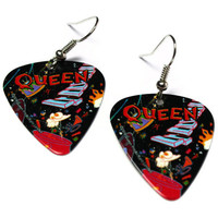 Queen Band Earrings, Guitar Pick Jewelry, A Kind of Magic, Nickel Free Earrings