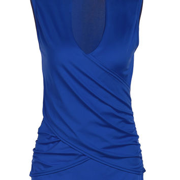 Solid Color Wrap Plunging Tank Top
