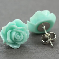 Stud Earrings : Pastel Teal Turquoise Aqua Blue Rose Flower Stud Earrings, Sterling Silver Plated Earring Posts, Electric, Simple, Fun