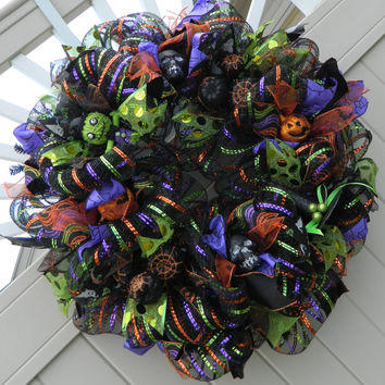 Halloween Wreath, Deco Mesh,  Halloween Decor, Halloween Decorations, Frankenstein Halloween