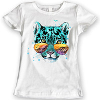 Tiger Glasses Summer 2016 T-Shirts Watercolor Ladies Gift Idea 100% Cotton