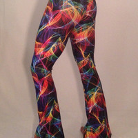Lazer Light // Men's Flare and Legging Psychedelic Festival Pants // Rave Lights UV Black Light Pants