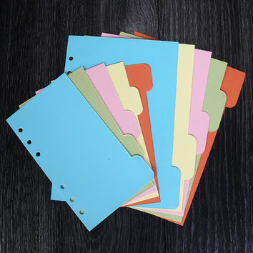 5Pcs set A5 A6 Dokibook Notebook planner Accessories Colored Inside Page Dividers Plate Filler Loose-Leaf Notebook Accessories