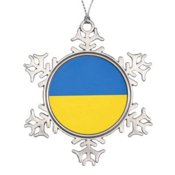 Snowflake Ornament with Ukraine Flag