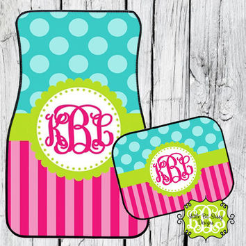 Car Mats Polka Dots Stripes Chevron Personalized Monogrammed Floor Car Mat Initial Pink Turquoise